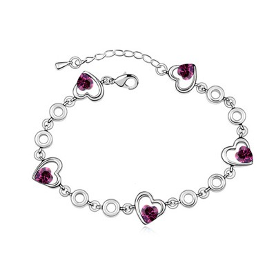 Coast Purple Heart Shape Decorated Austrian Crystal Crystal Bracelets