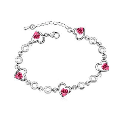 Monarchy Plum Red Heart Shape Decorated Austrian Crystal Crystal Bracelets