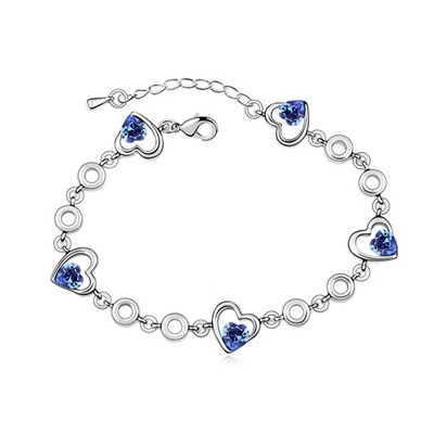 Bohemian Blue Heart Shape Decorated Austrian Crystal Crystal Bracelets
