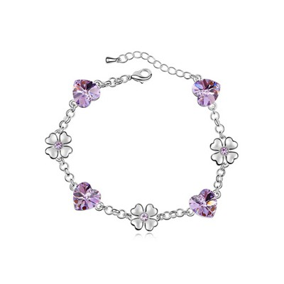 22K Violet Flower Heart Decorated Austrian Crystal Crystal Bracelets