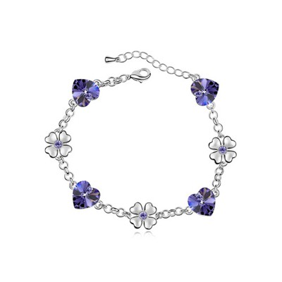 Handcrafte Tanzanite Flower Heart Decorated Austrian Crystal Crystal Bracelets