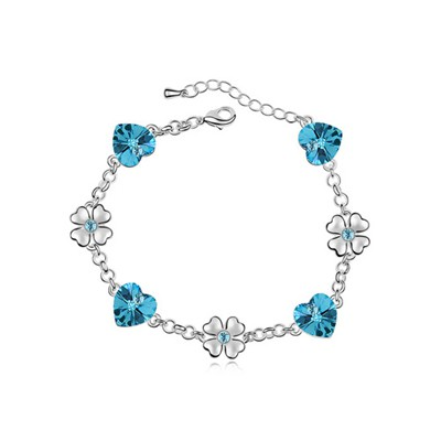 Scrapbooki Ocean Blue Flower Heart Decorated Austrian Crystal Crystal Bracelets