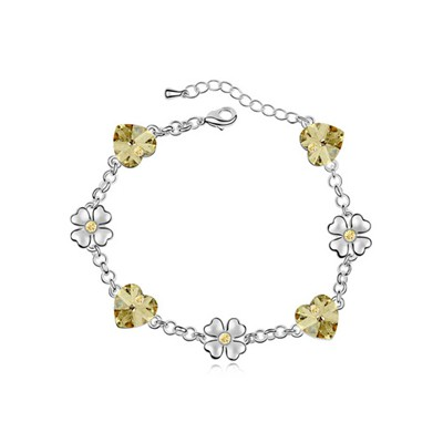 Stationary Light Yellow Flower Heart Decorated Austrian Crystal Crystal Bracelets