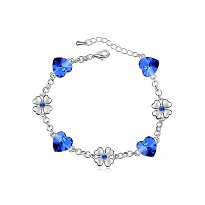 High Waist Blue Flower Heart Decorated Austrian Crystal Crystal Bracelets
