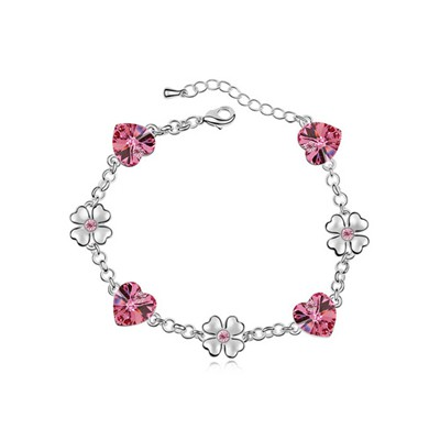 Glam Plum Red Flower Heart Decorated Austrian Crystal Crystal Bracelets