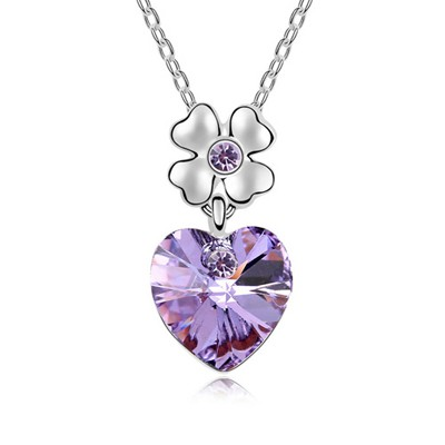 Promo Violet Heart Shape Pendant Austrian Crystal Crystal Necklaces