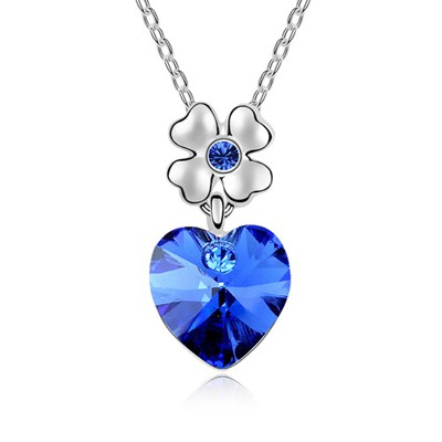 Fair Blue Heart Shape Pendant Austrian Crystal Crystal Necklaces