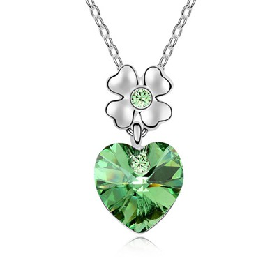 Down Olive Heart Shape Pendant Austrian Crystal Crystal Necklaces