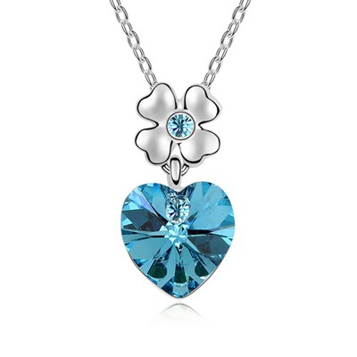 Bead Ocean Blue Heart Shape Pendant Austrian Crystal Crystal Necklaces