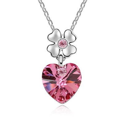 Oval Plum Red Heart Shape Pendant Austrian Crystal Crystal Necklaces