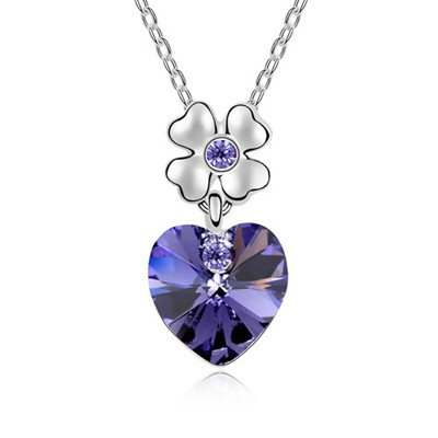Micro Tanzanite Heart Shape Pendant Austrian Crystal Crystal Necklaces