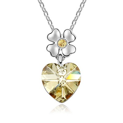 Softshell Light Yellow Heart Shape Pendant Austrian Crystal Crystal Necklaces