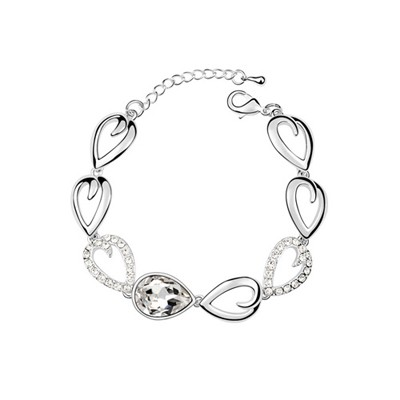 Wonderful White Tear Shape Link Design Austrian Crystal Crystal Bracelets