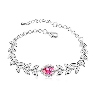 Bridal Plum Red Leaf Shape Link Design Austrian Crystal Crystal Bracelets