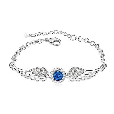 Victorian Dark Blue Angel Wing Shape Design Austrian Crystal Crystal Bracelets