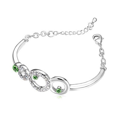 Faddish Olive Hollow Circle Decorated Austrian Crystal Crystal Bracelets
