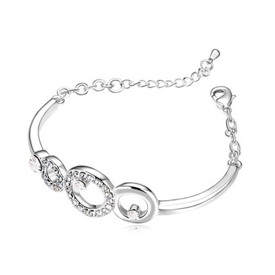 Foldable White Hollow Circle Decorated Austrian Crystal Crystal Bracelets