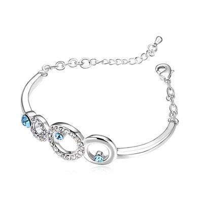 Initial Ocean Blue Hollow Circle Decorated Austrian Crystal Crystal Bracelets