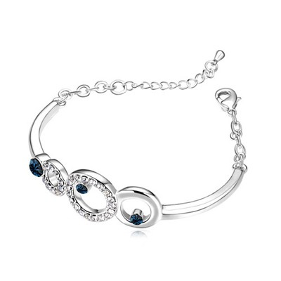 Fused Ink Blue Hollow Circle Decorated Austrian Crystal Crystal Bracelets