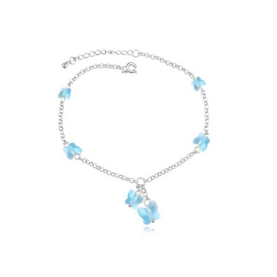 Engravable Ocean Blue Elegant Butterfly Decorated Austrian Crystal Crystal Bracelets