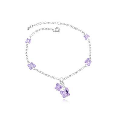 Glueless Violet Elegant Butterfly Decorated Austrian Crystal Crystal Bracelets