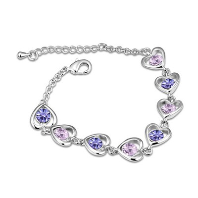 Propper Tanzanite Heart Linked To Heart Design Austrian Crystal Crystal Bracelets