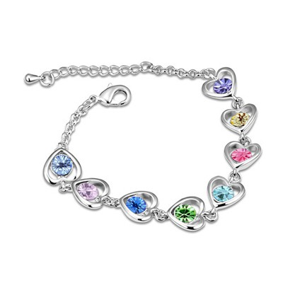 Lightning Multicolor Heart Linked To Heart Design Austrian Crystal Crystal Bracelets