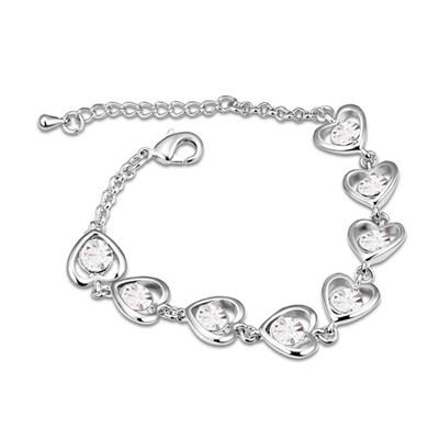 Fingerprin White Heart Linked To Heart Design Austrian Crystal Crystal Bracelets