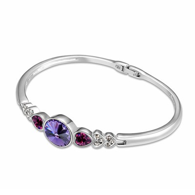 Engagement Tanzanite Six Small Heart Shape Gemstone Decorated Austrian Crystal Crystal Bracelets