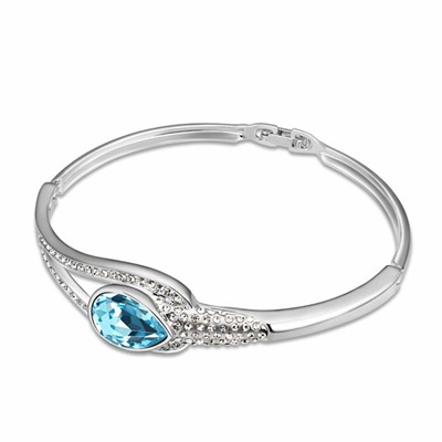 Best Ocean Blue Tear Shape Gemstone Decorated Austrian Crystal Crystal Bracelets