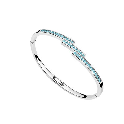 Latest Ocean Blue Diamond Decorated Thin Design Austrian Crystal Crystal Bracelets