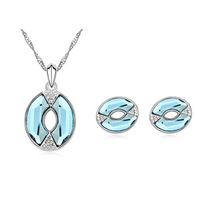 Peterbilt Ocean Blue Lip Shape Pendant Austrian Crystal Crystal Sets