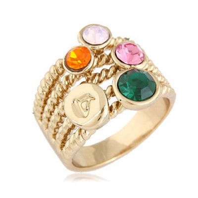 Athletic Multicolor Gemstone Decorated Hollow Out Wide Design Alloy Korean Rings