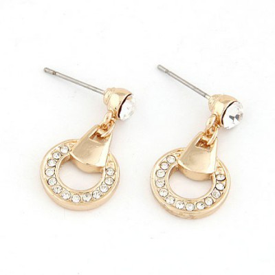 Puppy Gold Color Inlaid Diamond Simple Circle Design Alloy Stud Earrings
