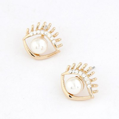Sullen White Personality Eye Shape Design Alloy Stud Earrings