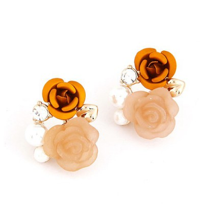 Golf Orange Rose Flower Decorated Alloy Stud Earrings
