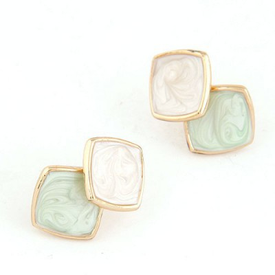 Lace Light Blue Square Shape Simple Design Alloy Stud Earrings