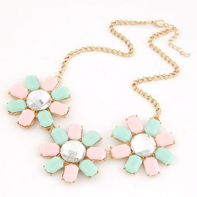 Chiropract Pink&Light Blue Three Rich Gemstone Flower Decorated Alloy Bib Necklaces