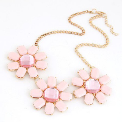 Easter Pink Three Rich Gemstone Flower Decorated Alloy Bib Necklaces
