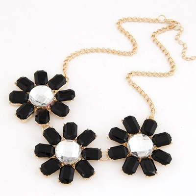 Outlook Black Three Rich Gemstone Flower Decorated Alloy Bib Necklaces