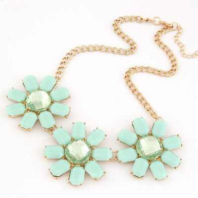 Madewell Light Blue Three Rich Gemstone Flower Decorated Alloy Bib Necklaces
