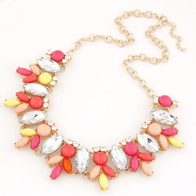 Gored Red Metal Inlaid Abstract Bee Design Alloy Bib Necklaces