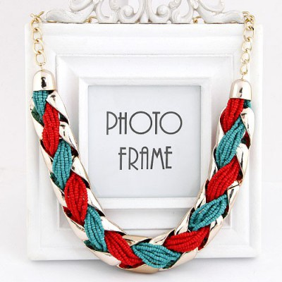 Magnifying Red Beads Weave Metal Design Alloy Bib Necklaces