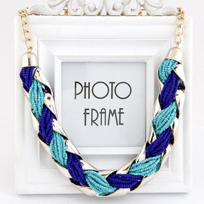Scrabble Blue Beads Weave Metal Design Alloy Bib Necklaces