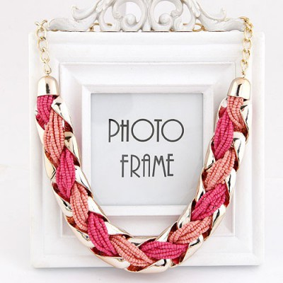 Kennedy Pink Beads Weave Metal Design Alloy Bib Necklaces