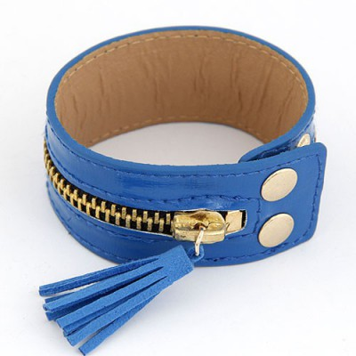 Eco Dark Blue Tassel Zipper Decorated Wide Design Alloy Korean Fashion Bracelet