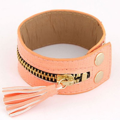 Classic Light Orange Tassel Zipper Decorated Wide Design Alloy Korean Fashion Bracelet