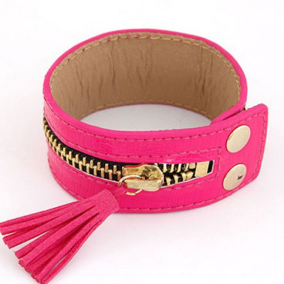 Hydraulic Plum Red Tassel Zipper Decorated Wide Design Alloy Korean Fashion Bracelet