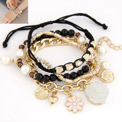 Evil Black Multielement Decorated Multilayer Design Alloy Korean Fashion Bracelet