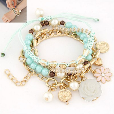Caspari Blue Multielement Decorated Multilayer Design Alloy Korean Fashion Bracelet